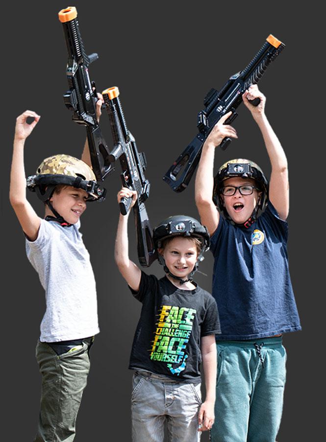 Kinderen met Raptor3 juichen
